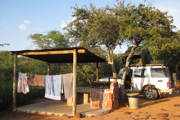 27.2. Wir beziehen Campsite Nr. 1 in Waterberg Wilderness