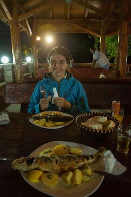16.9. Murići, wir essen ausgzeichnete Fische (Forelle und Meeräsche) bei Hasan (Ižletište Murići )