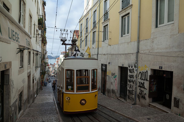 18.09. Mit dem Ascensor da Bica nähern wir uns den Cais do Sodré und dem Hafen.