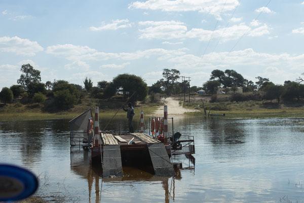 ... setzen mit der Fähre auf das andere Ufer des Boteti über.