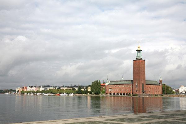 Riddarholmen, Evert Taubes terrass, Blick auf Stadshuset