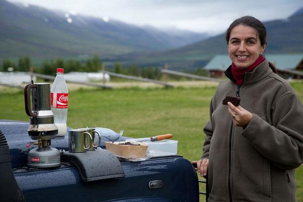 6.8. Akureyri - Frühstück am Campingplatz