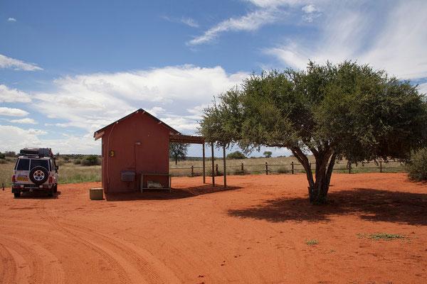 10.2. Unsere Campsite Nr. 3, inmitten der Dünen mit eigenem Waschhäuschen.