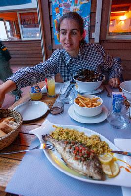 6.6. Unser (für diesen Urlaub) letztes Abendessen auf Korsika genießen wir in einem Restaurant nahe des Campingplatzes San Damiano bei Biguglia.