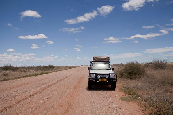 10.2. Auf dem Weg zur Bagatelle Kalahari Game Ranch