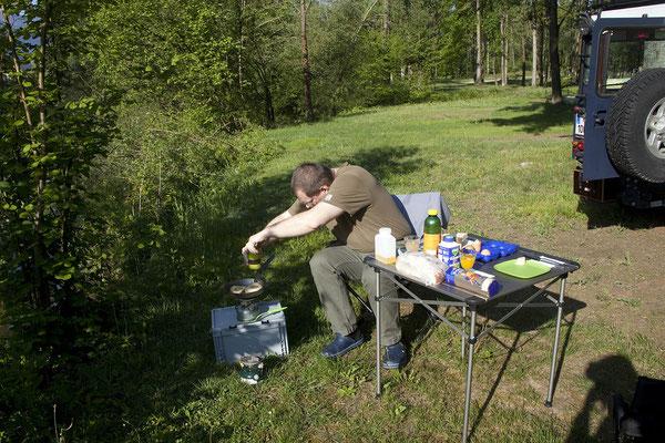 Campingplatz Menina - Frühstück