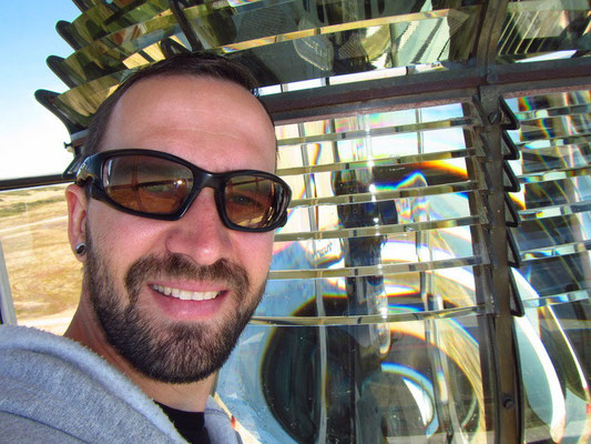 Oben auf dem Leuchtturm - das Glas ist noch Original und 150 Jahre alt