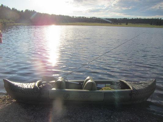 Unser Kajak voll ausgerüstet beim Georgetown Lake