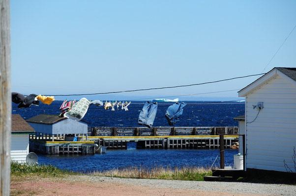 Kanadier und ihre Wäsche.....bei schönen Tagen hängt alles draussen..mit Eisberg im Hintergrund
