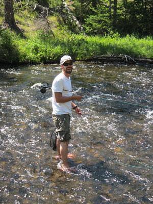 Mike am Fliegenfischen