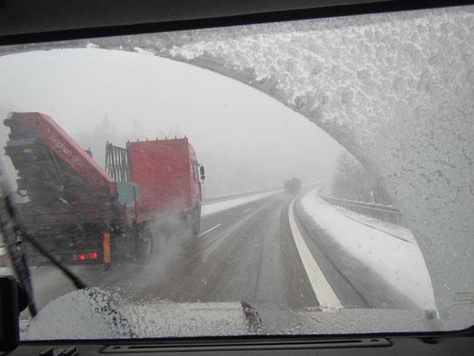 Schneegestöber unterwegs