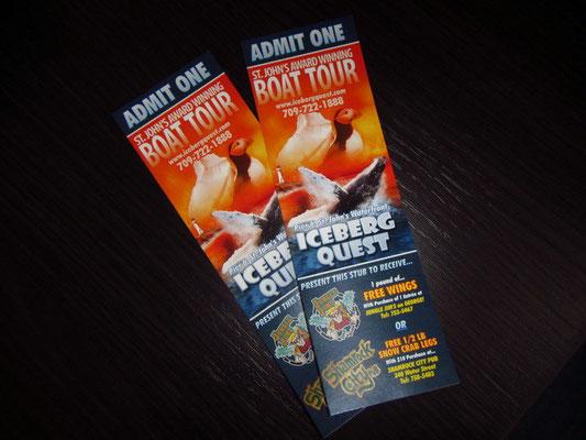 Tickets für die Eisbergtour