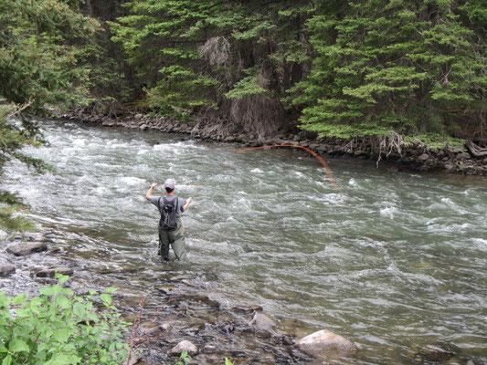 Mike am Fischen im Gallatin River