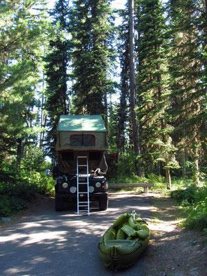 Unser Stellplatz im Flathead National Forest