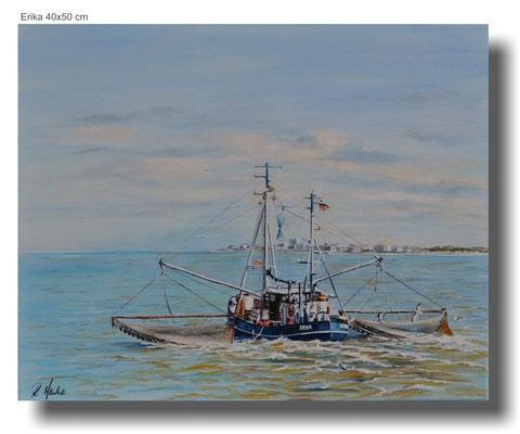 Krabbenkutter Erika vor Norderney 50 x 40 cm