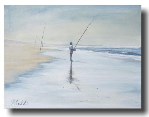 Angler am Strand 40 x 30 cm