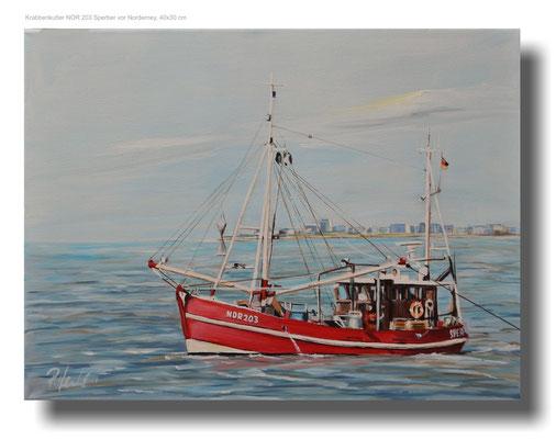 Krabbenkutter NOR Sperber vor Norderney 40 x 30 cm 320 €