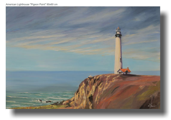 American Lighthouse Pigeon Point  90 x 60 cm