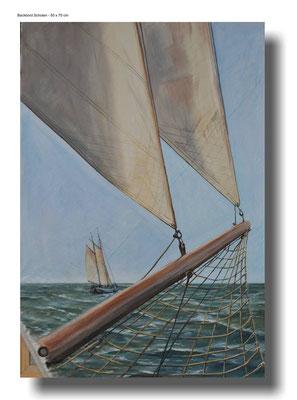 Backbord Schoten, Ölgemälde auf gebrauchtem Segel  70 x 100 cm - verkauft