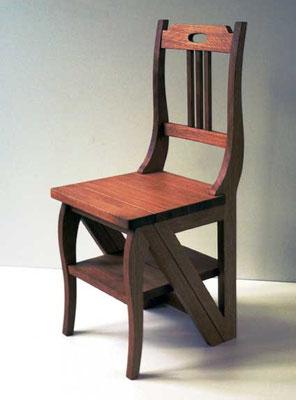 Leiterstuhl, als Stuhl, Buche geölt