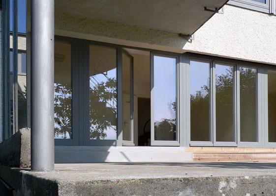Fassadenelemente, fest und dreh/kipp, Eiche lackiert