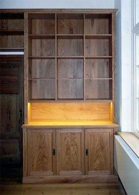 Bücherregal; Beleuchtung; Eiche, geölt