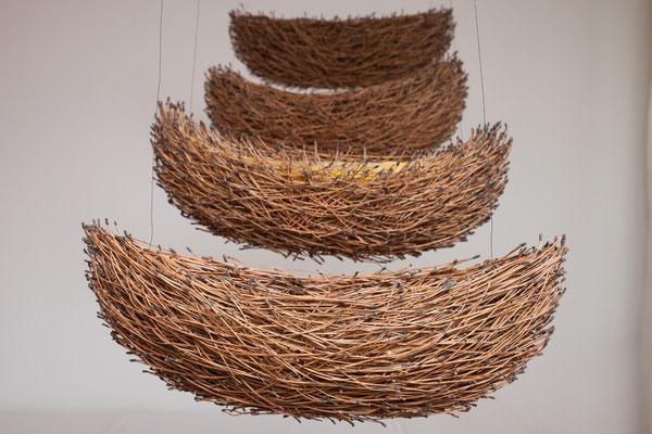 barcas 1-4, 2013, Pinus maritima, Bienenwachs, Draht, 55x20x20
