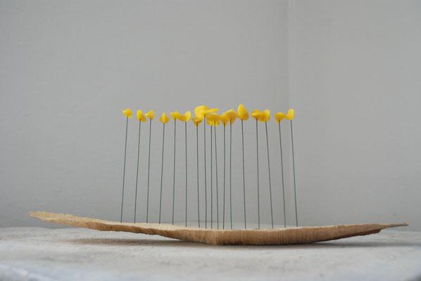 Ohne Titel, 2009, Holz, Draht, Bienenwachs, 43x11x17