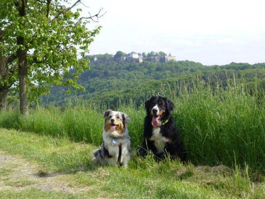 Faye und Vreni vor der Festung Königstein