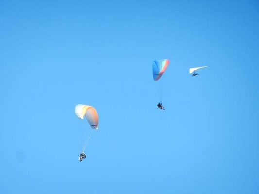 Während ich mir bei einem Tandem-Gleitschirmflug (links im Bild) den Chiemgau von oben betrachtete....