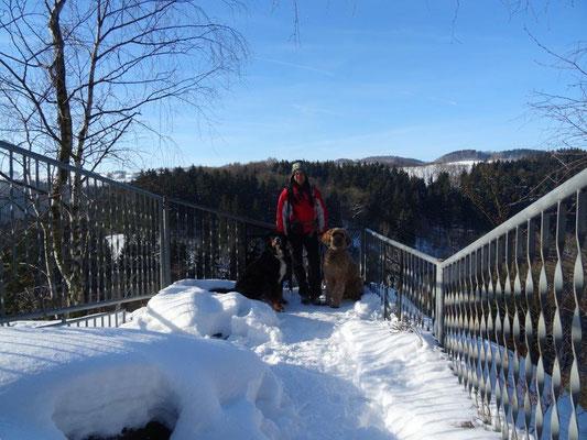 Vreni, Nepomuk und ich an der Brückenklippe