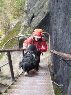 Über Steile Eisentreppen gehts nach oben (Foto: Kaj Kinzel)