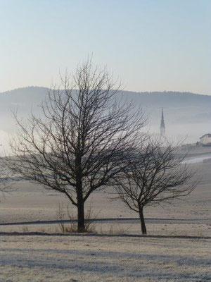 Morgennebel über Ulrichsberg im Böhmerwald