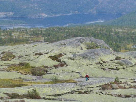 Aufstieg zum Homfjellet - Felsen, soweit das Auge reicht