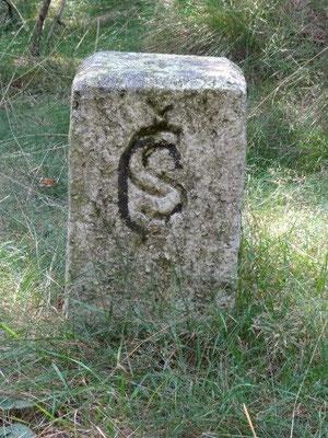 Dieser Stein kennzeichnete schon die Grenze zwischen ČSSR (ČS) und DDR - lang, lang ist's her