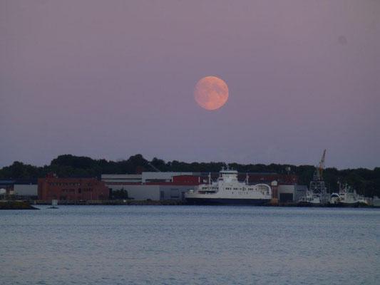 Roter Mond über dem Hafen von Horten