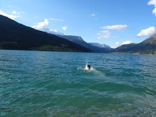 Erfrischendes Bad im Reschensee