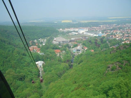 Blick aus der Seilbahn über Thale