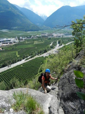Auf dem Tisser Klettersteig hoch überm Vinschgau