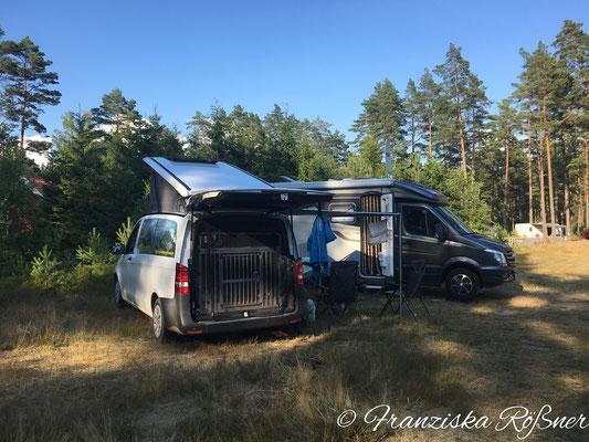 Treffen mit lieben Freunden auf dem Campingplatz