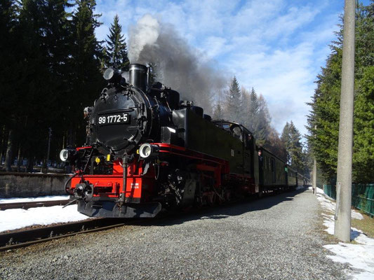Einfahrt der Fichtelbergbahn
