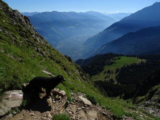 Steiler Abstieg durch die Taufenscharte