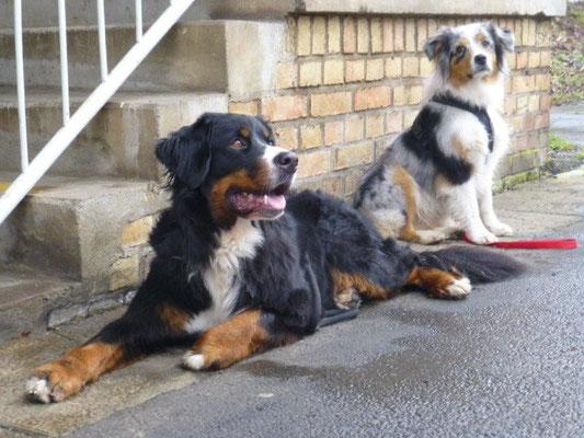 Vreni und Faye am Bahnhof