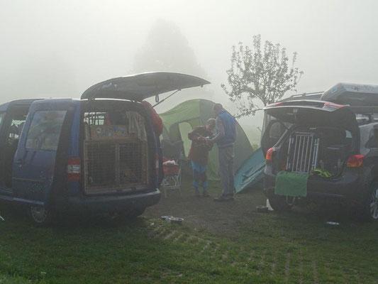 """Morgennebel über unserem """"Camp"""""""