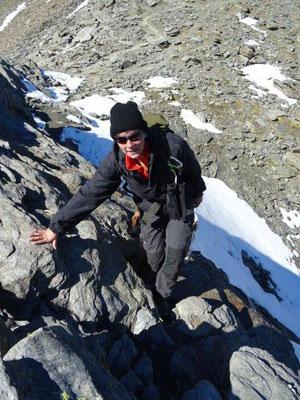 Leichte Kletterei oberhalb des Madritschjoches