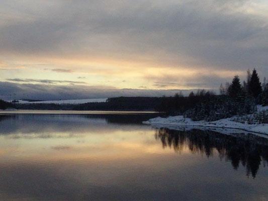 Sonnenuntergang an der Preßnitztalsperre