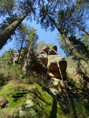 Mächtige Felsen erheben sich im Kirnitzschtal