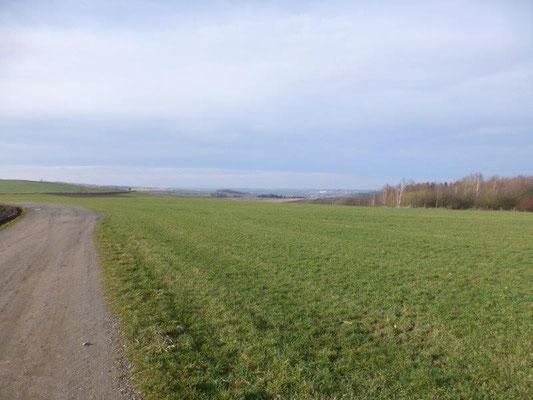 Ausgedehnte Wiesen oberhalb von Chemnitz