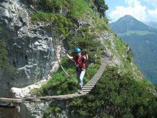 Hängebrücke auf dem Isidor-Klettersteig