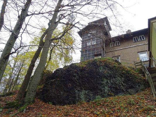 Unterhalb des Aussichtsturms auf dem Großen Winterberg sind die Basalt-Orgelpfeifen noch sehr deutlich zu erkennen.